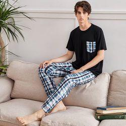 À poche T-shirt & à carreaux Pantalon Ensemble de pyjama - SHEIN - Modalova
