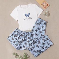 Lettre et à imprimé papillon T-shirt & Short & Pantalon Ensemble de pyjama - SHEIN - Modalova