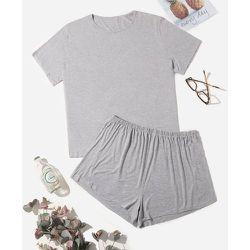 T-shirt unicolore & Short Ensemble de pyjama - SHEIN - Modalova