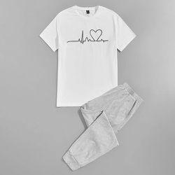 À imprimé cœur T-shirt et Pantalon Ensemble de pyjama - SHEIN - Modalova