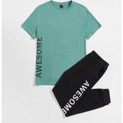 Ensemble de pyjama pantalon de survêtement et t-shirt à motif de lettres - SHEIN - Modalova