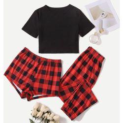 T-shirt unicolore & à carreaux Short et Pantalon Ensemble de pyjama - SHEIN - Modalova
