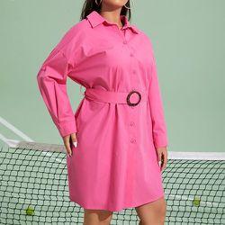 Robe chemise ceinturé - SHEIN - Modalova