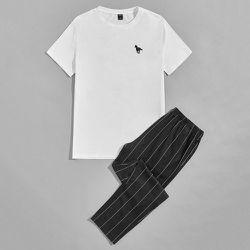À imprimé cheval T-shirt & à rayures Pantalon Ensemble de pyjama - SHEIN - Modalova