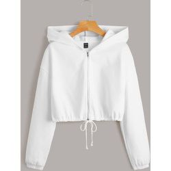 Sweat-shirt à capuche court à cordon zippé - SHEIN - Modalova