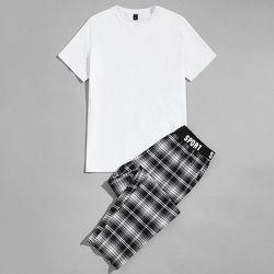 Ensemble de pyjama pantalon à carreaux et t-shirt unicolore - SHEIN - Modalova