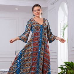 Robe tunique à imprimé géométrique col en V - SHEIN - Modalova