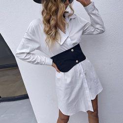 Robe chemise asymétrique - SHEIN - Modalova