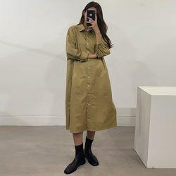 Robe chemise unicolore - SHEIN - Modalova