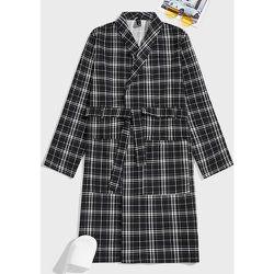 Robe de chambre ceinturée à carreaux à poche - SHEIN - Modalova