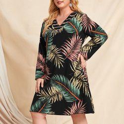 Robe tunique à imprimé tropical col en V - SHEIN - Modalova
