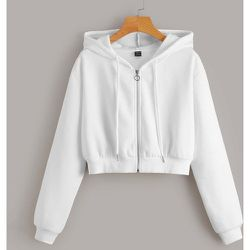 Sweat-shirt à capuche court unicolore zippé - SHEIN - Modalova