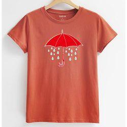 Parapluie & slogan T-shirt - SHEIN - Modalova