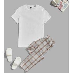 T-shirt unicolore & à carreaux Pantalon Ensemble de pyjama - SHEIN - Modalova