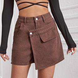 Jupe-short taille haute asymétrique en jean - SHEIN - Modalova