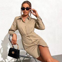 Robe chemise plissé - SHEIN - Modalova