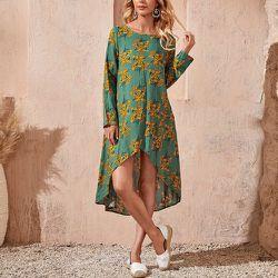 Robe tunique à imprimé fleuri asymétrique - SHEIN - Modalova
