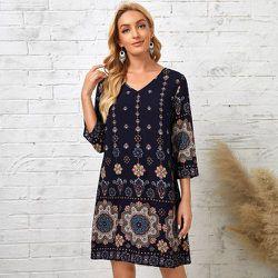 Robe tunique à imprimé floral col en V - SHEIN - Modalova