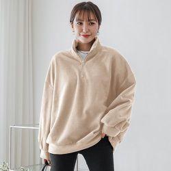 Sweat-shirt zippé oversize en polaire - SHEIN - Modalova
