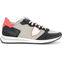 Tropez X sneaker in suede and gray and red fabric , , Taille: 43 - Philippe Model - Modalova
