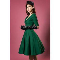 Delores Swing Dress Années 50 en Émeraude - unique vintage - Modalova