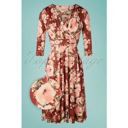 Caryl Floral Swing Dress Années 50 en Cannelle - vintage chic for topvintage - Modalova