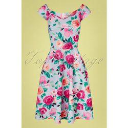 Fabienne Floral Swing Dress Années 50 en Ciel - vintage chic for topvintage - Modalova