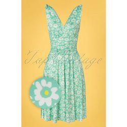 Grecian Floral Dress Années 50 en Menthe - vintage chic for topvintage - Modalova