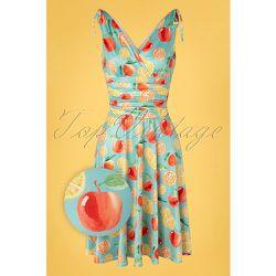 Grecian Fruit Dress Années 50 en Ciel - vintage chic for topvintage - Modalova