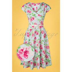Kato Floral Swing Dress Années 50 en Pâle - vintage chic for topvintage - Modalova