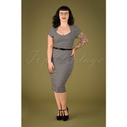 Ginny Gingham Pencil Dress Années 50 en et Blanc - vintage chic for topvintage - Modalova