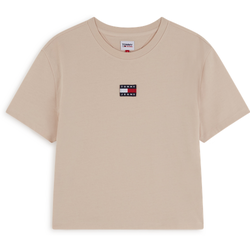 Tee Shirt Center Badge Logo Beige - Tommy Jeans - Modalova