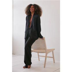 Fait En Lin Pantalon De Costume - Black - Angelica Blick x NA-KD - Modalova