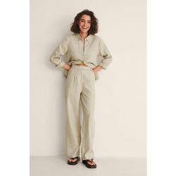 Pantalon Large En Lin - Beige - NA-KD Classic - Modalova