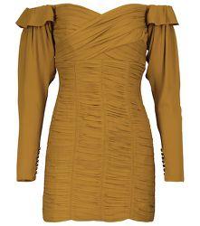 Mini-robe à encolure Bardot en crêpe froncée - Self-Portrait - Modalova