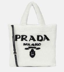 Cabas à logo en shearling - Prada - Modalova