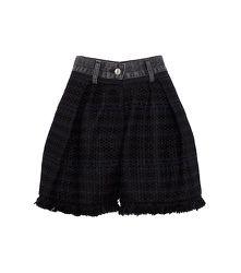 Short plissé en jean et tweed - sacai - Modalova