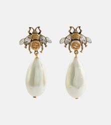 Boucles d'oreilles en laiton, cristaux et perles fantaisie - Gucci - Modalova