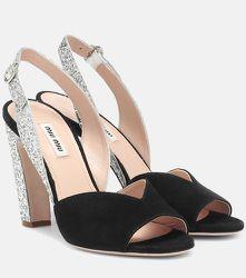 Sandales en daim à paillettes - Miu Miu - Modalova