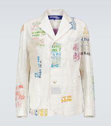 Blazer en coton et lin mélangés à patchwork - Junya Watanabe - Modalova