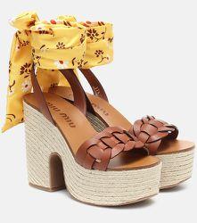 Sandales à plateau en cuir - Miu Miu - Modalova