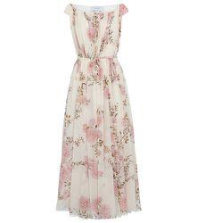 Robe longue en soie à fleurs - GIAMBATTISTA VALLI - Modalova