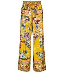 Pantalon ample en soie à fleurs - CAMILLA - Modalova