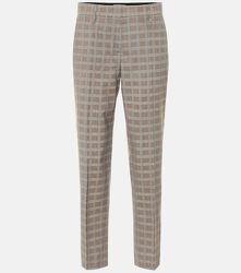 Pantalon droit en laine à carreaux - Prada - Modalova