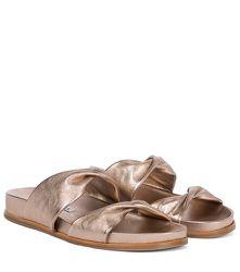 Mules Twist Footbed en cuir métallisé - Aquazzura - Modalova