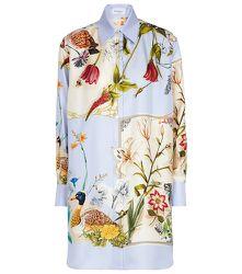 Robe chemise en soie à fleurs - Salvatore Ferragamo - Modalova