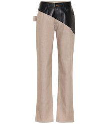 Pantalon en coton et cuir - Bottega Veneta - Modalova