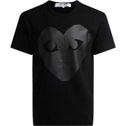 T-shirt T-shirt au col rond noir, avec coeur imprimé - Comme Des Garcons - Modalova
