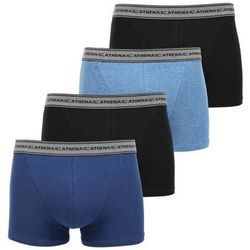 Boxers Lot de 4 Boxers Coton BASIC Bleu chiné Marine Noir - Athena - Modalova