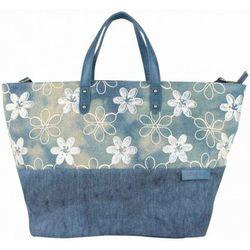 Cabas Sac cabas XL toile délavée fleur bleu - Patrick Blanc - Modalova